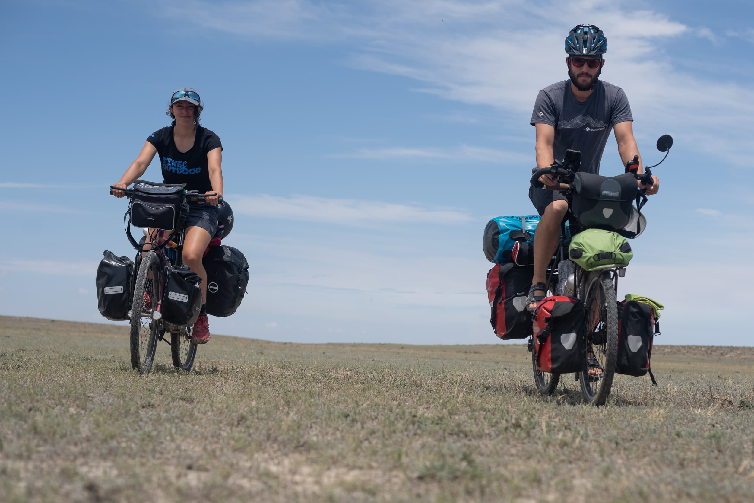 two fully loaded cycle tourers in turkey