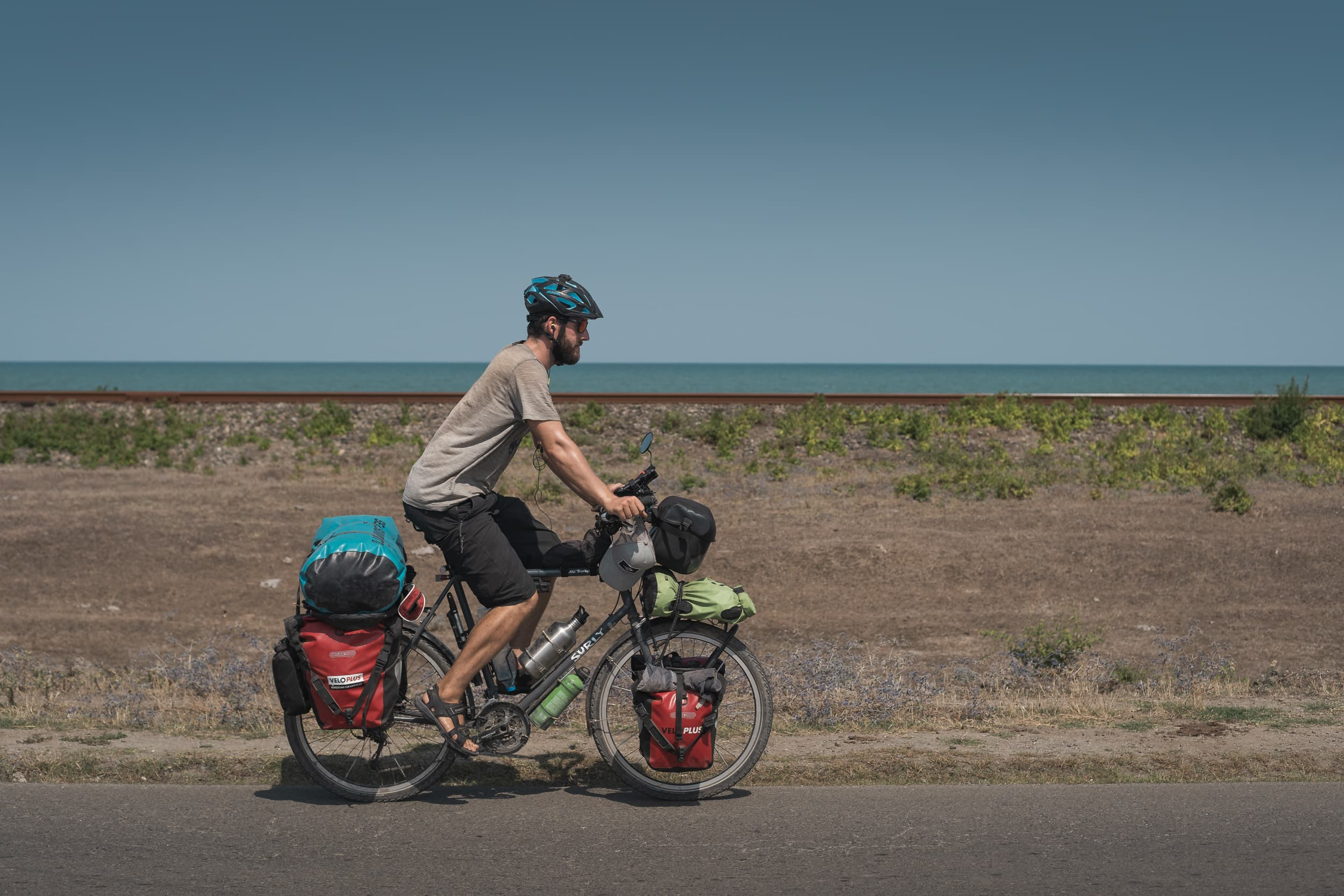 cycling along the caspian sea