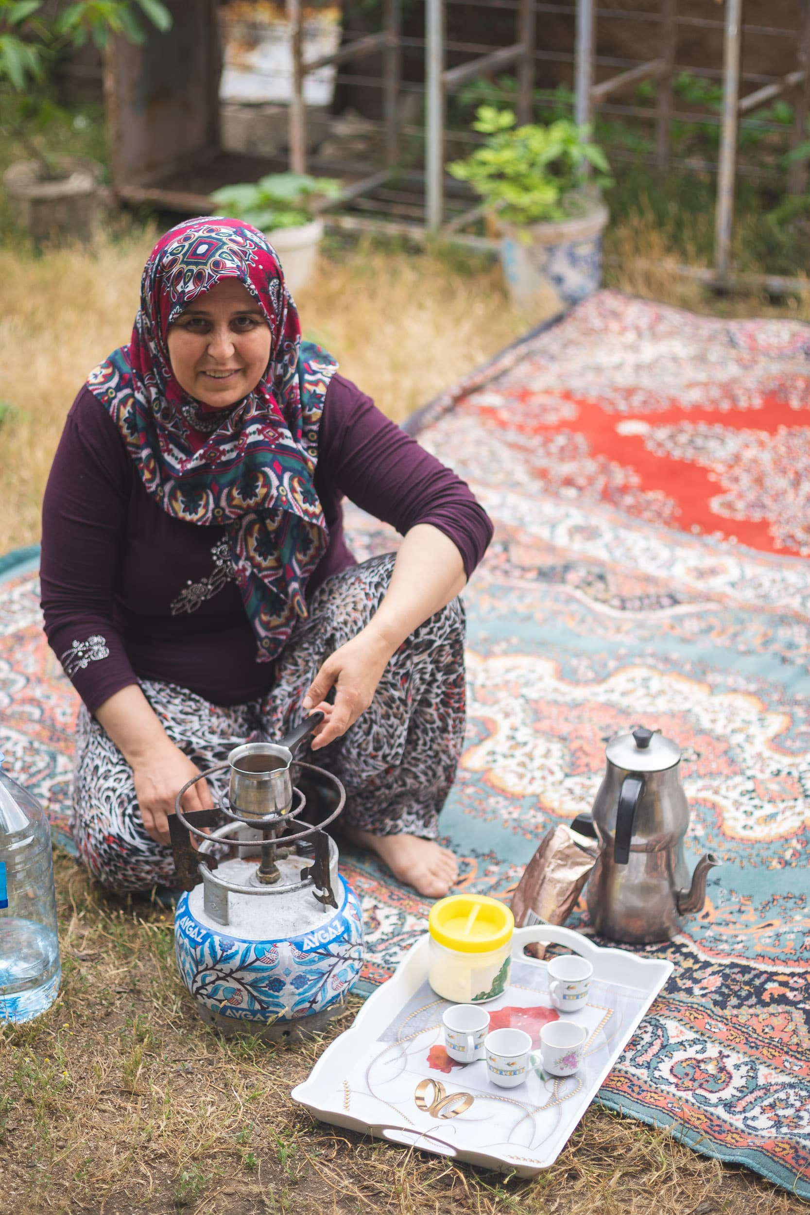 Turkish woman making coffee
