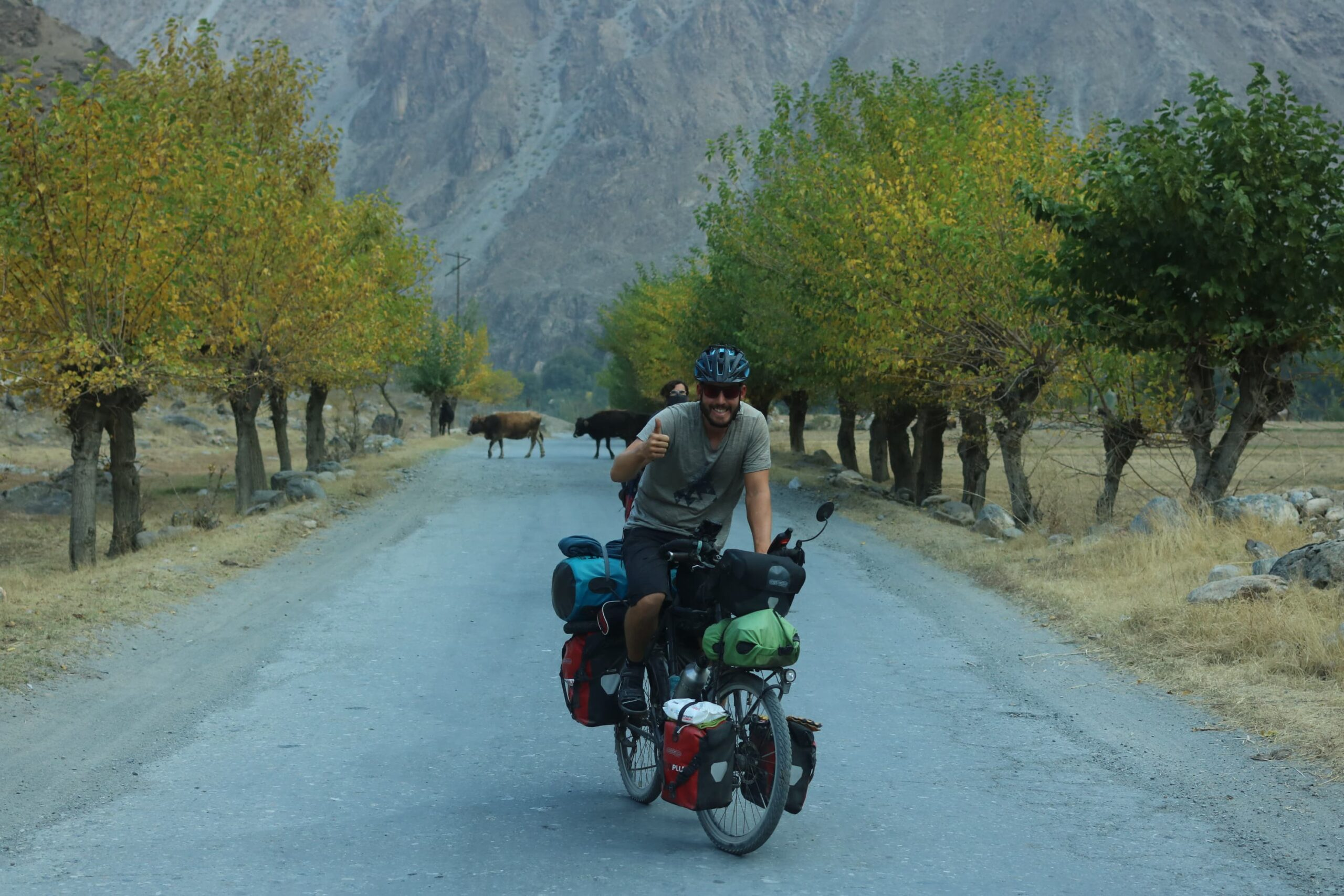 Fabian cycling the Pamir Highway