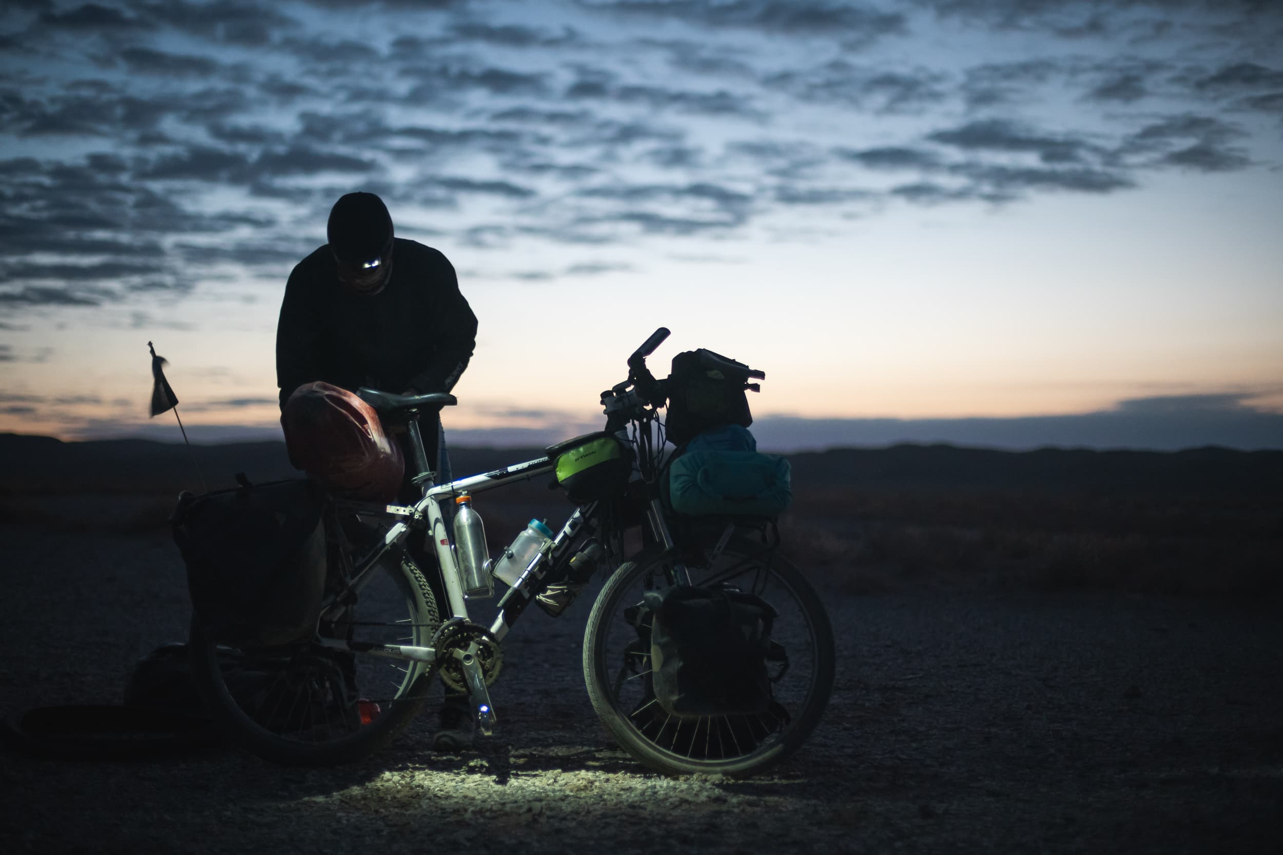 packing the bikes before sunrise