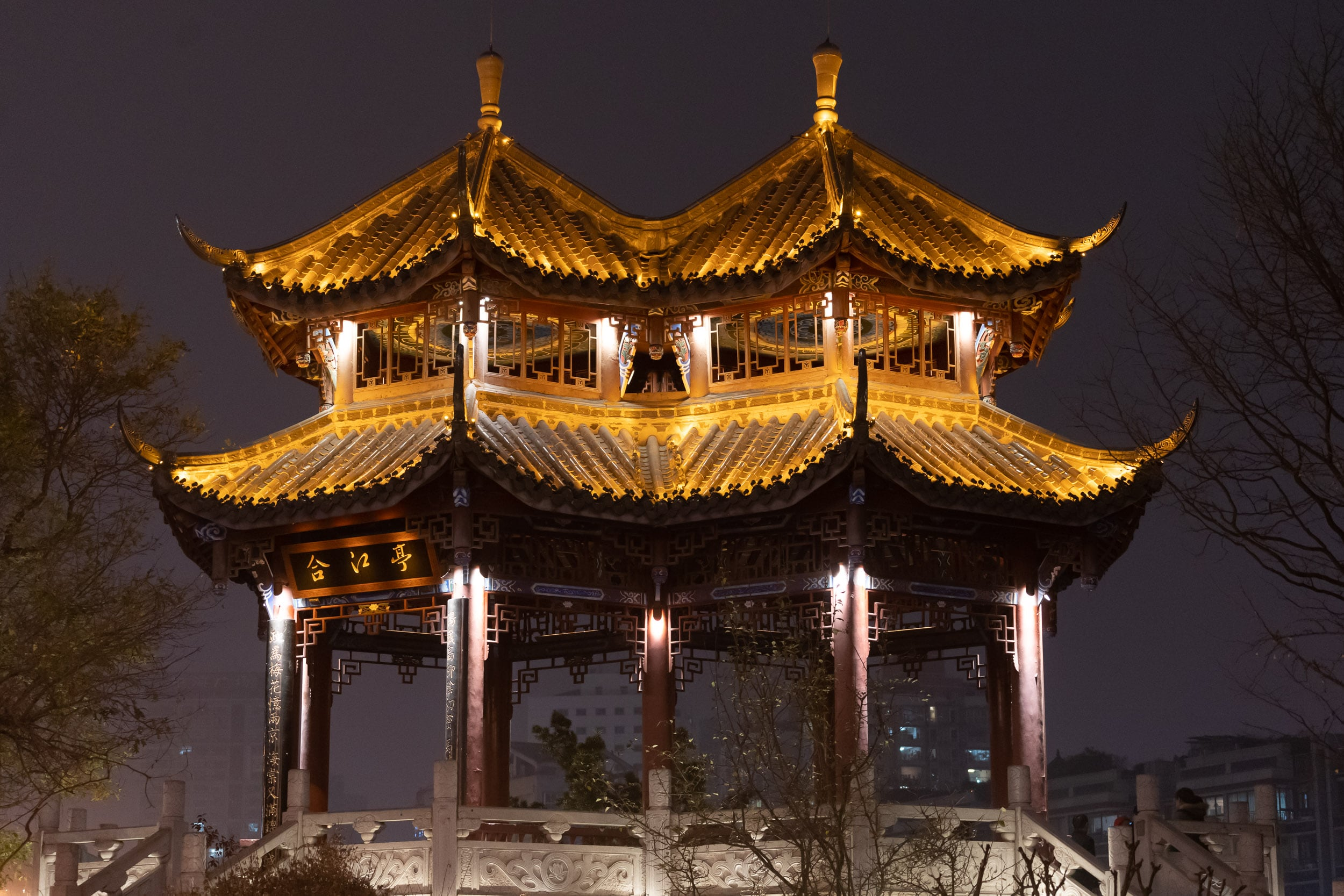 chinese architecture roof by night
